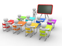 Classroom. 3d people - men , person with pointer in hand close to blackboard. Concept of education and learning Royalty Free Stock Photo