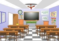 Classroom. Front view  with a chalkboard Royalty Free Stock Image