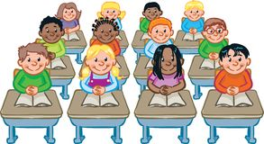 Classroom. A classroom full of students seated at their desks Stock Photos