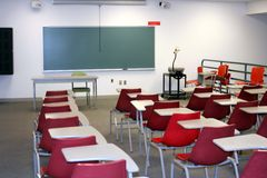 Classroom. College classroom setting with red chairs Stock Photo