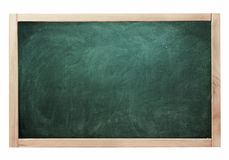 Classroom black chalk board green color isolated on white Stock Photos