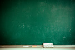 Classroom blackboard. Chalk and eraser stock image