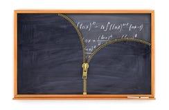 Classroom blackboard open by zipper and blackboard with mathema Stock Image