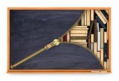 Classroom blackboard open by zipper Royalty Free Stock Photos