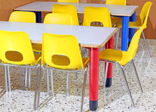 Classroom with chairs and tables in the kindergarten Stock Photo