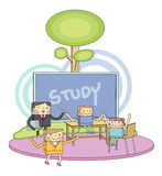 Classroom & children students line character illustration Royalty Free Stock Images