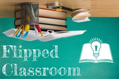 Classroom. Flipped apple blackboard capital close-up communication royalty free stock photo