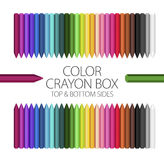 Classroom - Color Crayon Box. Full Color Crayon Box Vector Set with top and bottom sides Stock Images