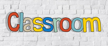 Classroom Colourful Word on Brick Wall Concept Stock Photo