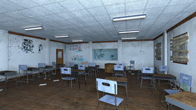 Classroom. 3D CG rendering of a classroom Royalty Free Stock Photography