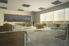 Classroom. 3D render of school classroom Stock Image