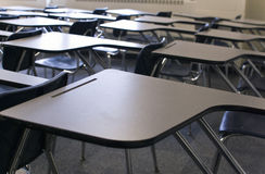 Classroom Desks. Desks in a college classroom royalty free stock photo