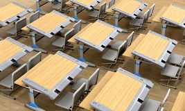 Classroom desks against the background of parquet. vector illustration
