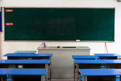 Classroom desks and blackboard Stock Photography