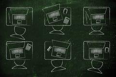 Classroom desks with laptops. School classroom desks with student's laptops Stock Image