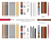 Classroom - Drawing Tools Box. Full Drawing Tools Box Vector Set with top and bottom sides Stock Photo
