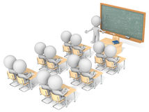 Classroom. Dude 3D characters X13 in classroom. Chalkboard with sample Mathematics. Top, side view Stock Photography