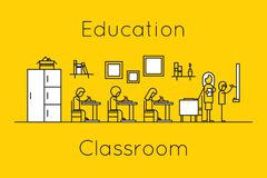 Classroom education thin line concept Royalty Free Stock Photography