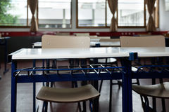 Classroom With Empty Chairs And Desks Royalty Free Stock Photos