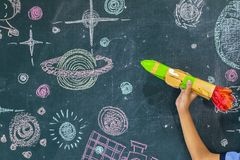 Invented aircraft rocket, follow that Dream. The classroom environment in which the students are intending to study seriously,Students work STEM,Are learning Stock Photography
