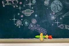 Invented aircraft rocket, follow that Dream. The classroom environment in which the students are intending to study seriously,Students work STEM,Are learning Stock Images