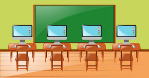 Classroom with four computers on desk. Illustration Royalty Free Stock Photography