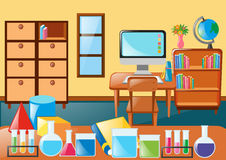 Classroom full of science equipment. Illustration Stock Photo