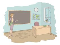 Classroom graphic color school interior sketch illustration vector. Teacher is showing on the blackboard stock illustration