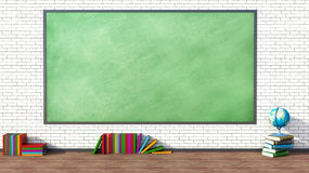 Classroom with green blackboard against brick wall Royalty Free Stock Image