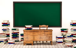 Classroom, green blackboard on white wall with table, chair and piles of books on wooden floor, 3d rendered Stock Photos
