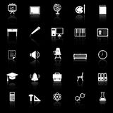 Classroom icons with reflect on black background Royalty Free Stock Photos