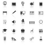 Classroom icons with reflect on white background Stock Photo