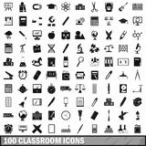 100 classroom icons set, simple style. 100 classroom icons set in simple style for any design vector illustration Royalty Free Stock Photos