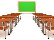 Classroom interior with blackboard and wood desks Stock Photo