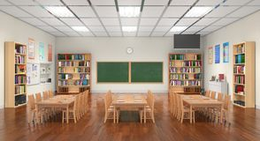 Classroom interior. 3D illustration. Classroom spacious light interior. 3D illustration stock image