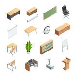 Classroom Interior Elements Icons Set Stock Image