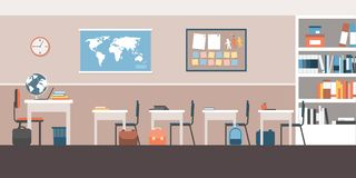 Classroom interior with furnishing and equipment. Colorful empty classroom interior with school items, equipment and furnishings Royalty Free Stock Photo