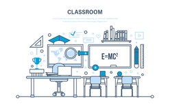 Classroom, interior of room, education, training, learning, workplace, knowledge, teaching. Stock Photography