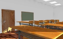 Classroom interior - tables and chairs Stock Image