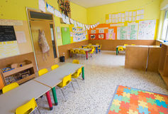 CLASSROOM of kindergarten without children Stock Image
