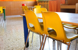 Classroom of a kindergarten with little chairs Stock Photos