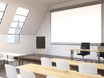 Classroom with NY view side. Side view of classroom interior with blank whiteboard, blackboard stand and New York city view. Mock up, 3D Rendering Royalty Free Stock Image