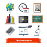 Classroom objects colourful flat icon set Stock Image