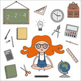 Classroom objects outline icons Royalty Free Stock Photos
