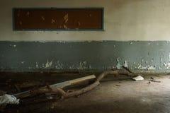 Classroom in a old school ruin stock photos