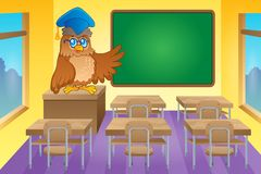 Classroom with owl teacher Stock Image