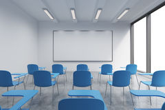 A classroom or presentation room in a modern university or fancy office. Blue chairs, a whiteboard on the wall and panoramic windo. Ws with white copy space. 3D Stock Photo