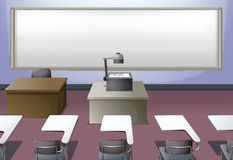 Classroom with projector and desks Royalty Free Stock Images