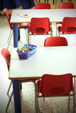 Classroom with red chairs in the kindergarten Royalty Free Stock Images