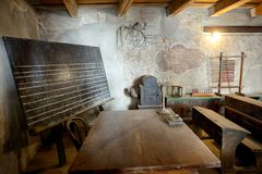 Classroom in the Saxon Fortified church of Prejmer, Brasov, Romania 04.11.2018 royalty free stock photography